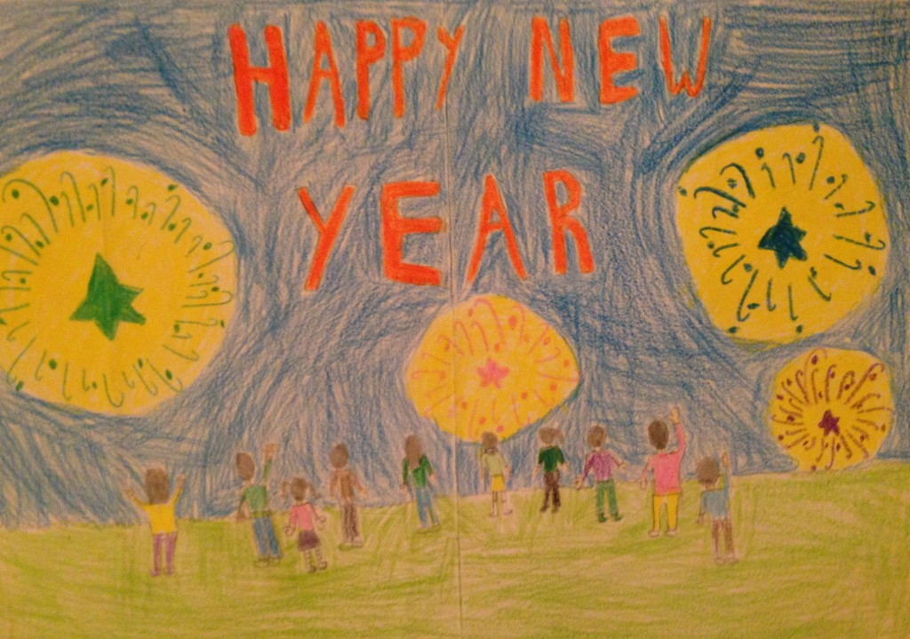 """""""Happy New Year"""" by Edel O'Connell 3rd Class Banteer N.S."""